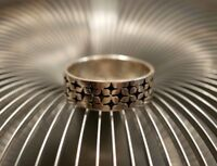 Großer 925 Silber Ring SL Sterling Kreuze Sterne Unisex Damen Herren Daumen