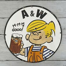 VINTAGE A&W ROOT BEER PORCELAIN SIGN GAS OIL SODA POP DRINK BOY MOTOR PUMP PLATE
