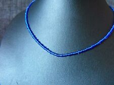 "14"" - 22"" glass beaded collar choker necklace Blue Glass Seed Bead"