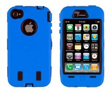 for Apple iPhone 4 4G 4S Blue & Black Impact Armor Hard & Soft Rubber Case Cover