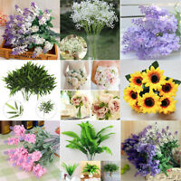 Various Artificial Fake Silk Flower Leaf Bouquet Plant Wedding Party Home Decor