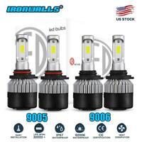 9005+9006 3600W 540000LM Combo LED Headlight High/Low Beam 6000K 4 Bulbs Kit US