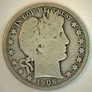 1906 D Barber Silver Half Dollar 50c US Type Coin Denver Minted Good Circulated