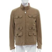MONCLER Colisee beige cotton flap pocket red nylon lined reversible field jacket