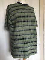 Vintage 1970s XL Green Navy Geometric Psychedelic Retro Cotton Mod Knitted Top