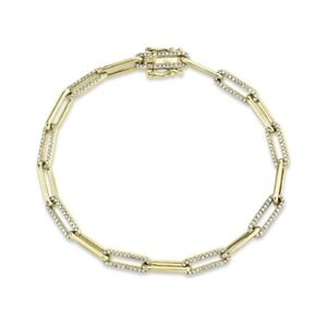 14K Yellow Gold Paper Clip Link Diamond Bracelet Womens Natural Round Cut 0.73CT