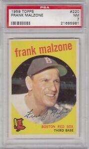1959 Topps BASEBALL #220 FRANK MALZONE,  PSA 7 NM