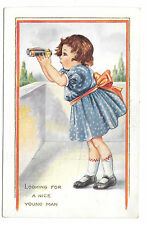Looking for a Nice Young Man Little Girl with Binoculars Whitney Made Postcard