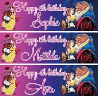 2 x personalized birthday banner Beauty and the Beast Girl Kid Party Decoration