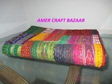 Indian Kantha Twin Quilt Handmade Patchwork Reversible Bedspread Blanket Throw