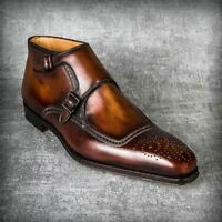 Cognac Patina Handmade Ankle High Boots for men custom leather shoe for men