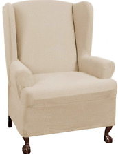 NEW Maytex Reeves Stretch 1 Piece Wingback Chair with Arms Slipcover Natural