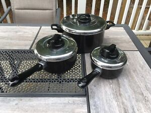 T-Fal Nonstick 3 Piece Cookware Set / Pots With Lids / Made In France Tefal