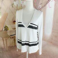 NEW Splendid Womens Blue White Striped Long Sleeve T-Shirt Blouse Top Size XL