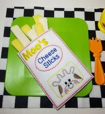 Felt pretend food - CHEESE STICKS with pouch - embroidery - handmade