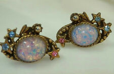 Gorgeous Pink Foil Harlequin Dragon Glass Rhinestone Vintage 50's Earrings 422J6