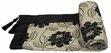 BLACK CREAM FLORAL CHENILLE EMBROIDERED LEAVES TASSELLED 145X180CM THROW BLANKET