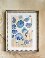 UNFRAMED Blue Poppies Original Watercolor, Frameable Wall Art, valentine gift