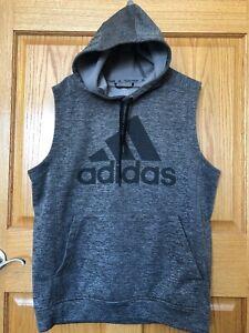 Adidas Team Issue Climawarm L Grey Big Logo Sleeveless Hooded Sweatshirt Gym