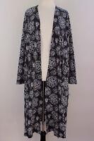 Large LuLaRoe Noir Blanc Sarah Ribbed Cardigan Black White Floral Cotton NWT 26