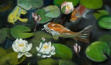 YARY DLUHOS ORIGINAL OIL PAINTING Koi Goldfish Garden Lily Pond Water