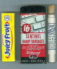 AUTHENTIC OLD BANDAID TYPE TIN & GLASS TUBE PILL BOTTLE, FREE SHIP, *SALE* AD813