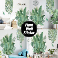 Wall Stickers DIY Green Leaves Plant Wallpaper Home Bedroom Decor #