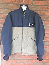 """Letterman Jacket Size Small Wool Blend Gray Blue """"P"""" Zip Front Neff School Coat"""