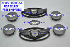 2011-2015 fits HYUNDAI GENESIS COUPE GLOSS BLACK WING EMBLEM+STEERING+WHEEL CAP
