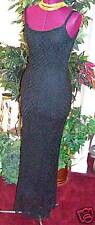 NEW BADGLEY MISCHKA $1,900  LONG  BLACK  SLIP  DRESS  SZ 4