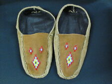 NATIVE AMERICAN HOME TANNED MOOSE HIDE BEADED MOCCASINS 10 INCHES NOBEL DESIGN