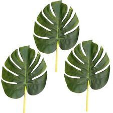 3 Large Artificial 28cm Monstera Swiss Cheese Plant Leaves - Tropical - Green