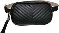 Steve Madden Black Quilted Belt Bag Rectangular Shape Gold Hardware Large