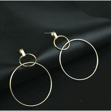 Double circle big small Gold circle studded earring women fashion hoop dangle