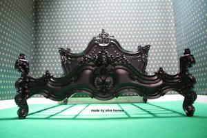 UK Super King 6' Gothic Matt Black designer Baroque French style mahogany Bed