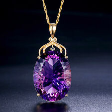 Super Huge Mystical Purple Amethyst Gem Yellow Gold Plated Silver Charm Necklace