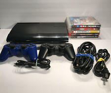 PlayStation 3 PS3 Super Slim CECH-4201c 500GB Bundle W/ 2 Controllers& 5-Games