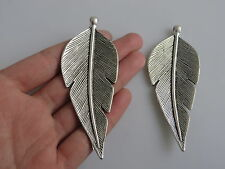 2pcs Large Antique Silver Metal Feather Charm Pendants Jewelry Findings 89*35mm