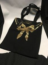 MARC JACOBS Fragrances TOTE BAG Black w/Shiny GOLD BOW Logo NWT Shopper Purse