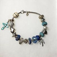 Michael Anthony MA 925 Sterling Silver Slide Charm Bracelet and jeweled Beads...