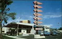 Colorado Springs CO Drive-In Restaurant Cars Signs Art Deco 1950s Postcard