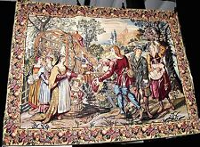French Goblys Wall Hanging Tapestry Garden Scene Traditional Figures Large 75""