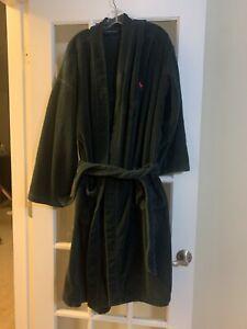 RALPH LAUREN Big Polo Pony Plush Bath Robe GREEN RED L/XL