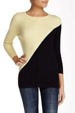 Carmen Marc Valvo Women's Colorblock Sweater Sz M Black & Yellow