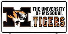 University of Missouri Tigers White License Plate Auto Tag Sign - SALE