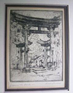 Japanese Tea Garden, Golden Gate Park  S.F. ~ Etching by Harriet Roudebush