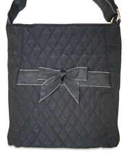 Black Quilted Crossbody Bag Purse Handbag Women Bow Cross Body Ladies Large