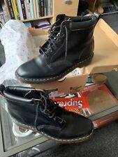 Dr Martens Supreme Vintage Negro Liso 6 ojos bota de cuero con logotipo de caja UK12 US13