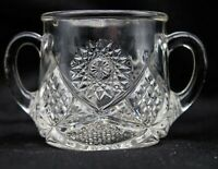 Vintage 2 Handled Brilliant Pressed Glass Open Sugar Bowl Daisy Diamond Pattern