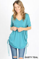 Zenana Premium Short Sleeve V-Neck Side Ruched Top S M L XL Dusty Teal